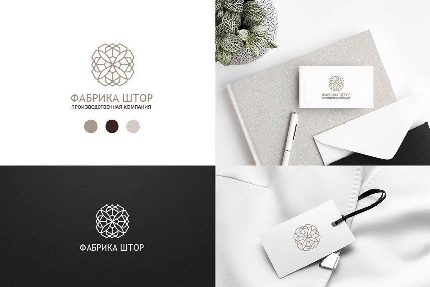 Светлый логотип для компании по производству штор