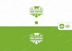 Логотип с изображением коровы и поля, название совмещено в символ