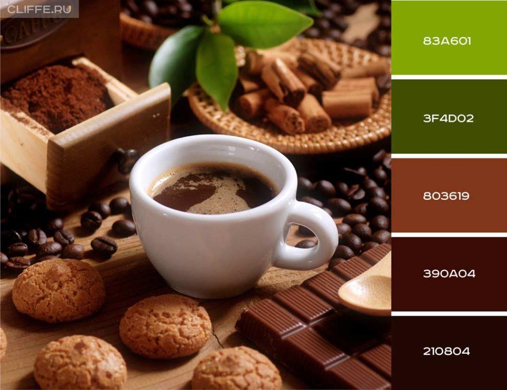 Кофе и контрастный зеленый цвет